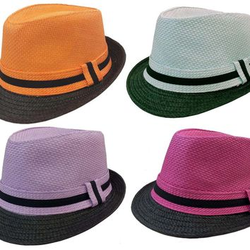FEDORA TRILBY GANGSTER FEDORA BUCKET HAT MEN WOMEN PAPER STRAW TWO TONE HAT CAP
