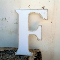 wood letter F hanging decor rustic 8 inc  Distressed wooden letter wall hanging nursery wood names cottage chic brown