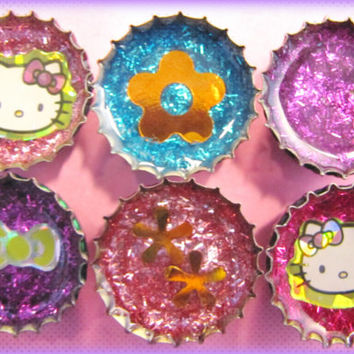 Upcycled Bottle Cap Magnets Resin Handmade Kitty Bow Flower Pnk Blue H.Pink Purple Recycled Reclaimed Repurposed Eco Friendly Ceramic Magnet