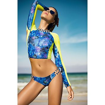 Hibiscus Print Full Sleeve Rash Guard & Double Side Strap Cheeky Bottom Bikini Swimsuit Set