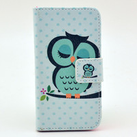 Owl Print Leather Phone Wallet Case