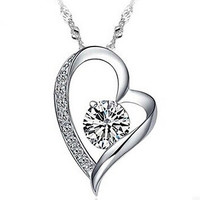 Stunning Silver and Crystal Heart Necklace