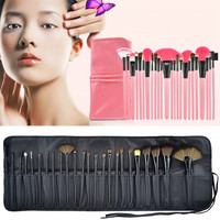 New 24pcs Professional Wool Cosmetic Makeup Brush Set Kit Brushes&tools Make Up Case