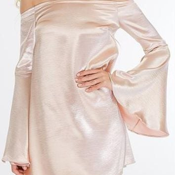 Come Alive Blush Satin Long Bell Sleeve Off The Shoulder Shift Mini Dress - Sold Out