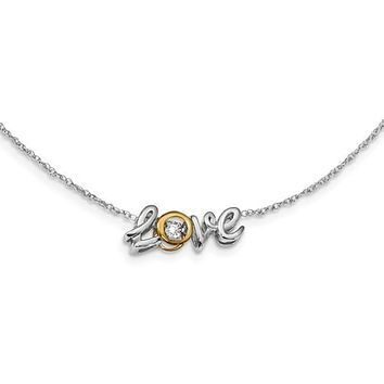 14K Two Tone Gold diamond Love Letters Necklace