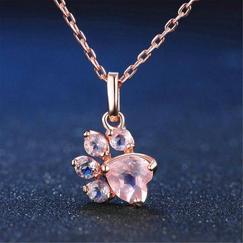 QUMORAIN New Bear Paw Dog Cat Claw Rose Gold Pendant Necklace for Women Romantic Wedding Pink CZ Love Footprint Necklaces