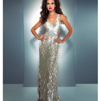 Mac Duggal Prom 2013- Gold And Silver Sequin Gown With Criss Cross Back - Unique Vintage - Cocktail, Pinup, Holiday & Prom Dresses.