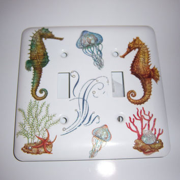 Ocean themed double light switch cover