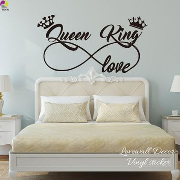 King and Queen Love Infinity Crown Wall Sticker Bedroom Sofa Family Lover Wife Husband Wall Decal Living Room Vinyl Home Decor