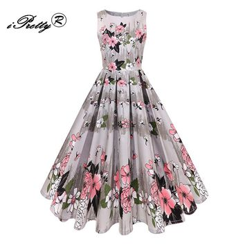 Women Summer Printing Dress Audrey hepburn Retro Swing Casual Vintage A Line Dress O Neck Sleeveless 1950s Style Vestidos