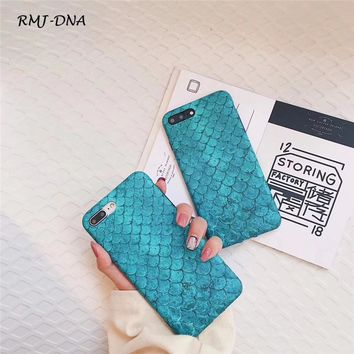 RMJ-DNA Fashion blue fish scales phone Case For iphone 8 7 6 s Plus Soft Silicone Cover cases For iphone x ultra-thin Coke case