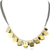 "Kenneth Cole New York ""Modern Garnet"" Gold and Hematite Square Disc Necklace:Amazon:Jewelry"