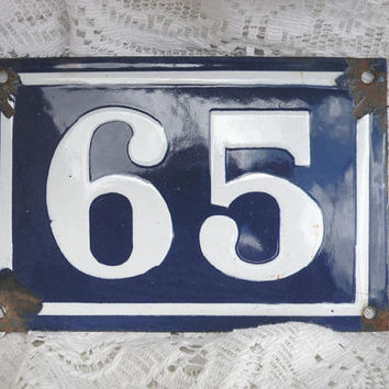 ORIGINAL French vintage enamel house number 46, shabby chic house number, number 65, number wall plaque, blue and white enamel house number