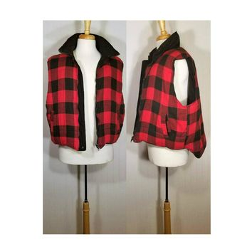 Men's Buffalo Plaid- Lumberjack Vest- Winter Vest- Utility Vest- Southwestern- Reversible