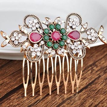 High Quality Flower Hair Accessories best Bridal Jewelry Antique gold Vintage Hair Clip Hair Combs Bridal Hairwear Bijuterira