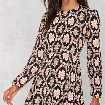 After Party Vintage Flower Records Mini Dress