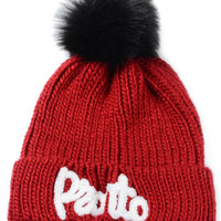 Red Letter Knitted Pom Pom Beanie Hat