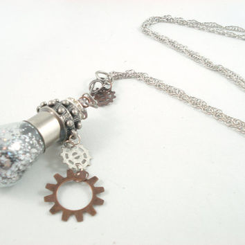 Long Light Bulb Steampunk Gear Silver Copper by angelyques on Etsy