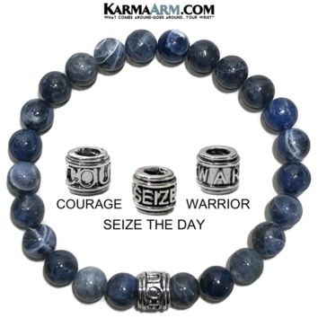 Mantra Motivation Bracelet | Sodalite | COURAGE or SEIZE THE DAY or WARRIOR Jewelry