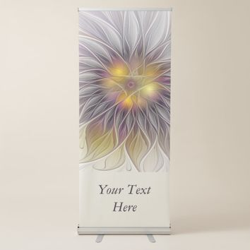 Luminous Colorful Flower, Abstract Modern Text Retractable Banner