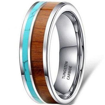 CERTIFIED 8mm Tungsten Ring Vintage Wedding Engagement Band with 100% Koa Wood Solid Turquoise Flat Top