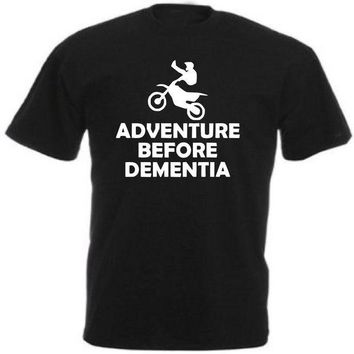 LMFXT3 Newest 2018 Fashion Solid Casual Male Motocross Motorbike Biker T-Shirt Adventure Before Dementia Funny Gift Idea Tee Shirt
