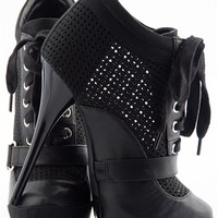 Party Perfect Perforated Bootie Platform Stilettos - Black from Glam at Lucky 21 Lucky 21