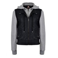 PU JACKET WITH JERSEY HOOD