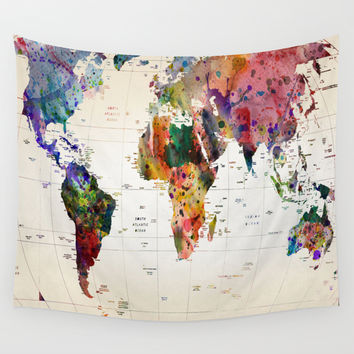 map Wall Tapestry by Mark Ashkenazi