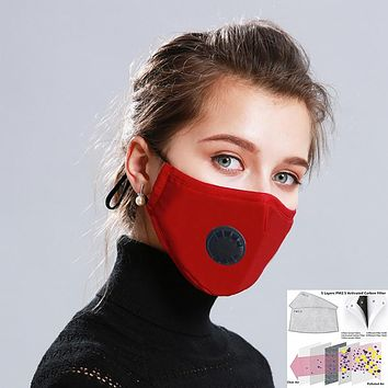 Cotton PM2.5 Black mouth Mask Anti Haze Anti-dust Mask Activated Carbon Filter Respirator bacteria proof Flu Face masks