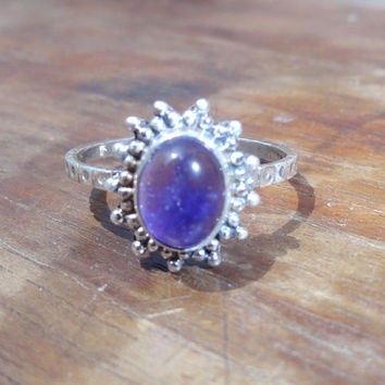 Natural Amethyst Silver Ring / amethyst ring /purple amethyst Gemstone ring / February birthstone stackable ring - Gift for her