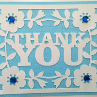 NEW!!  Handmade  Blue Wedding, Bridal and/or Baby Shower Thank You Card w/envelope