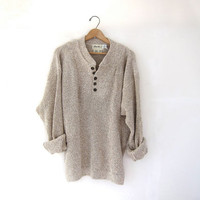 STOREWIDE SALE...vintage natural beige loose knit sweater. oversized cotton pullover sweater.