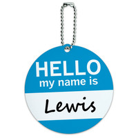 Lewis Hello My Name Is Round ID Card Luggage Tag