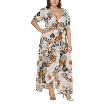 Summer Sexy Plus Size Women Maxi Dress 5xl 6xl 7xl Big Size Long Dresses Female Floral Printed Vestidos Boho Bodycon Dresses 4XL