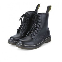 Black PU Lace Up Boots with Stitched Sole