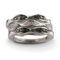 Diamond Stack Rings Set of Three Sterling Silver