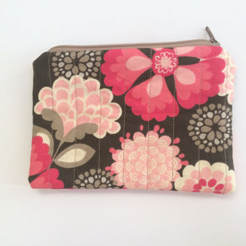 Quilted zipper pouch with matching wristlet key fob, Zipper bag