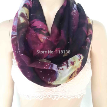 Multi Color Galaxy Print Infinity Loop Scarf Women's Accessories Gift for Her, Free Shipping