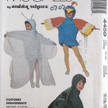 Vintage Costumes Patterns McCall's 4459 Children's Boys' Girls' Costumes Butterfly Flower Bird Squirrel Lady Bug Turtle
