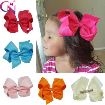 "32 Pieces/lot 6"" Ribbon Hair Bows With Hair Clips For Kids Girls Handmade Plain Ribbon Jumbo Bows Hair Barrette Hair Accessories"