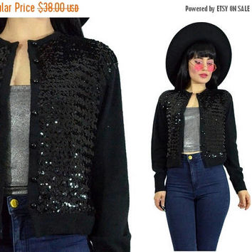 25%SALE vintage 70s ORLON sweater black cardigan sequin sweater 1970s minimalist disco GLAM deco knit jacket cropped small
