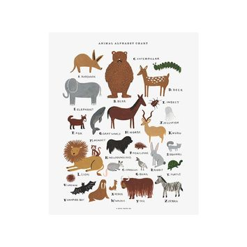 Animal Alphabet Chart Art Print
