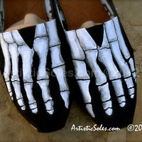 Skeleton Feet TOMS by Artistic Soles by ArtisticSoles on Etsy