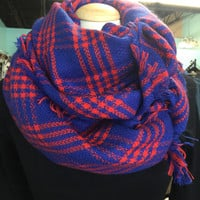 Royal Blue & Red blanket scarf: (KU fans)