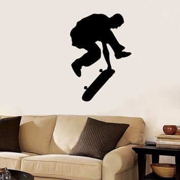 Sportsman Skateboarder Cyclist Cycling Jumping Vinyl Decal Home Wall Decor Removable Stylish Sticker Mural Unique Design for Any Room V488