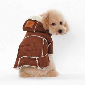 DCCKU7Q Suede Fabric Dog Clothes Winter Warm clothing For dogs Jacket Pet Dog Coat BW  Pet clothing  dog vest    clothing for pets