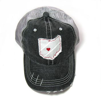 Black and Gray Distressed Trucker Hat - Ohio State Colors - Heart over Columbus