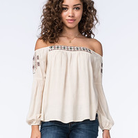 Let Them Eat Cake Off The Shoulder Embroidered Womens Peasant Top Cream Combo  In Sizes