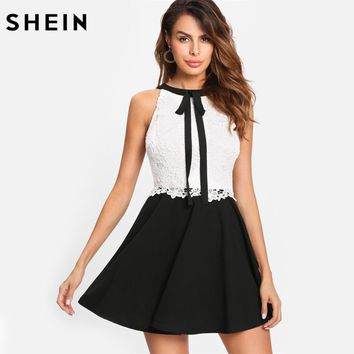 SHEIN Elegant Party Dress Contrast Lace Tied Neck Fitted and Flared Dress Black and White Sleeveless Halter A Line Dress